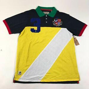 NEW Winchester Polo Shirt Mens L Color Blocking Stripe Multicolor Cotton Blend