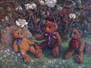 "Bears and Roses by Janet Kruskamp Teddy Bear Print 12"" x 16"""