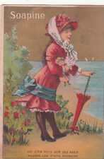 Soapine Girl w Umbrella by Sea French Text Looking for Boat Vict Card c 1880s