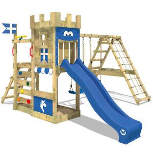 WICKEY Aire de jeux Portique bois DragonFlyer avec balançoire et toboggan bleu