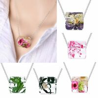 Fashion Womens Jewelry Resin Real Dried Flower Leaf Pendant Necklace Chain Gift