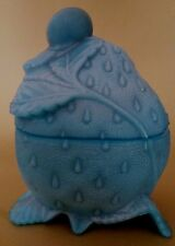 Rare Antique French Milk Glass Blue Strawberry with a snail Signed Portieux