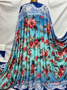 NEW 4/Way Stretch Spandex Lycra Double Border Floral Print Dress Fabric*FREE P&P