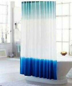 Threshold Dip Dye Shower Curtain Blue Cotton NEW