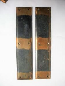 "2 Vintage Arts & Crafts Copper Door Push Plates 14 ½"" x 3 1/8"" Pair Mission Old"