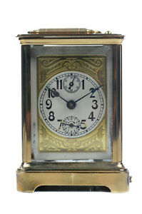 Vintage Brass Carriage Clock w/Ornate Face Dial