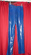 Ectomorph Blue Heavy Latex Rubber Jeans XS avec poches ZIP, etc.