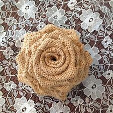 2 x Hessian Roses Flowers Vintage Shabby Chic Weddings Crafts