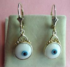 Evil Eye Amulet Silver 925 Dangle LeverBack Filigree 24k Vermeil Earrings SP16