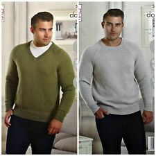KNITTING PATTERN Mens Easy Knit Round or V-Neck Jumper DK King Cole 5228