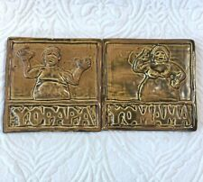 "Handcrafted Tile Yomama Yopapa Man Woman Beige Brown Handmade 7"" Square Rustic"