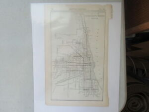 Original Vintage Map of the Chicago Elevated Railways System ~ 1915
