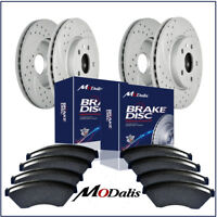 Front+Rear Kit Drilled And Slotted Brake Rotors & Ceramic Pads Chevy GMC 55072
