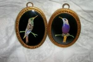 ANTIQUE MINIATURE PAINTINGS MORPHO BUTTERFLY WINGS BIRDS CONVEX GLASS BRONZE