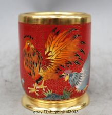 """5""""Marked Chinese Dynasty Cloisonne Bronze Two rooster  pencil vase Pot Statue"""