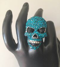 Statement Quirky Turquoise Crystal Skull Stretch Cocktail Ring By Rocks Boutique