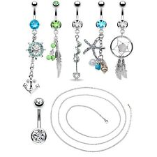 BodyJ4You 6 Belly Rings with Belly Chain 14G Stainless Steel Navel BodyJewelry