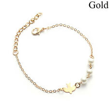 Women Pearl Bracelet Gold Silver White Dove Bird Wristband Fashion Jewelry Hot