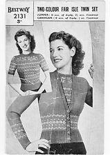 Vintage década de 1940 y década de 1950 Cardigans Suéteres 4 patrones de punto Original Fair Isle