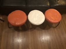 3 Vinyl Mid-Century Modern Stackable Foot Stools Ottomans Walnut Bent Wood legs