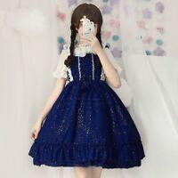 Womens Girls Lolita Sweet Cute Dress Chiffon Vintage Lace Up Japanese Cosplay