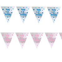 Happy 1st Birthday Holographic Foil Bunting Banner Party Decoration 1 - 12ft