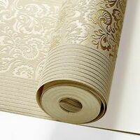 Floral Striped Wallpaper Roll Bedroom Wall Modern Luxury Beige Yellow Home Decor