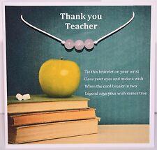 Thank you Teacher Rose Quartz Wish Bracelet Card and Envelope Fast Free Delivery