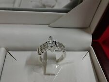 Sterling Silver Crystal Clear Rhinestone Oval Shape Silver Ring Size 8