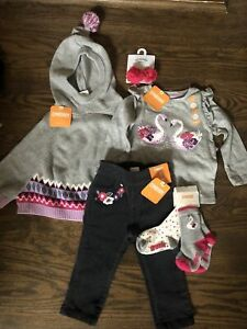 NWT Gymboree baby girl 6-piece gray pink floral swan poncho socks bow SET 6 9 12