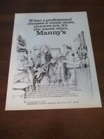 1977 Vintage 8X11 PRINT Ad for MANNY'S MUSIC STORE NEW YORK NY cartoon ad guitar