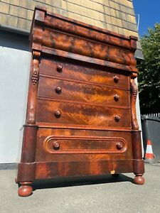 19th Century Flame Mahogany Scottish Tall Chest of 6 Drawers