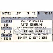 Justin Timberlake & Pink Concert Ticket Stub Chicago 3/12/07 Futuresex Loveshow