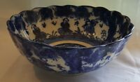 Flow blue vintage Art Deco antique figural design large bowl