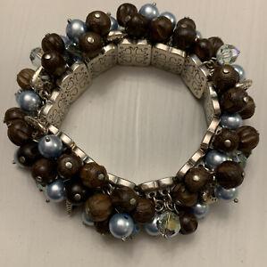 Brighton Zen Garden Silver Tone Hearts, Wood Stretch Bracelet Multi Charms
