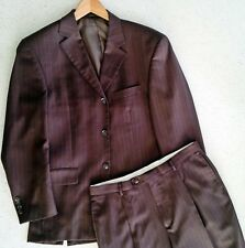 Men's Giorgio Cosani Wool Suit - Brown Pinstripe - France - 40R Jacket 34 Waist