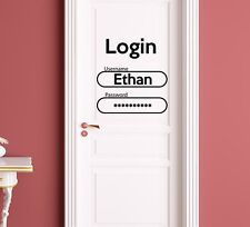 Door Wall Decals Boy Name Decal Login Password Vinyl Sticker Nursery Decor T103