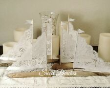 6 White Lace Driftwood Sailboat Seaside Nautical  Decor Wedding Center Peice