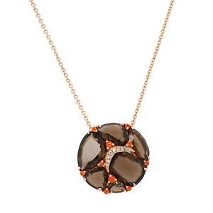 14K Rose Gold Pendant Natural Smoky Brown and Orange Topaz, Round White Diamonds