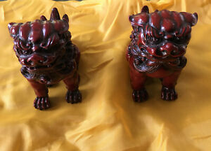 """Foo Dogs Lion Pair Resin Red With Black 3.5"""" x 3 """" X 2"""" With Original Gift Box"""