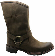 Women's 100% Leather Slip on Biker Boots