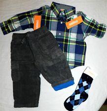 Pant Set Gray Gymboree Cargo 4pc Cotton Fall Winter Boy size 12-18 month New