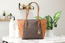 Michael Kors Шарлотта коричневый фирменный логотип кожаный большой Tz сумка с короткими ручками сумка