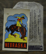 VINTAGE TRAVEL DECAL NEBRASKA COWGIRL HORSE RV TRAILER AUTO OLD LUGGAGE RODEO