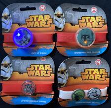 (4) Medium Disney Star Wars Interchangeable Charm Bracelets 2 Light Up By ROXO