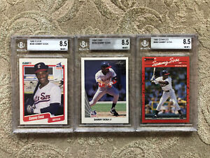 1990 Sammy Sosa 3 Card Lot Beckett 8.5 NM-MT+