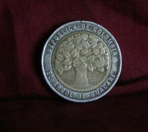 1996 Colombia 500 Pesos Bi Metallic World Coin KM286 Guacari Tree  South America