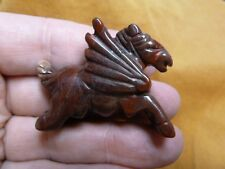(Y-Peg-Ru-554) mythical Pegasus flying tan jasper winged horse Figurine carving