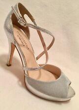 New Pacomena Menbur Silver Strap Sandals Heels Peektoes Ankle Strap 37 (6.5 M)