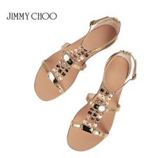 JIMMY CHOO WAYATT Gold Leather Embellished Flat Sandals sz 35